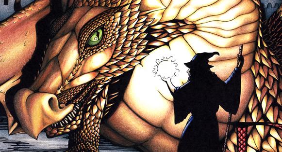 A wizard facing a dragon